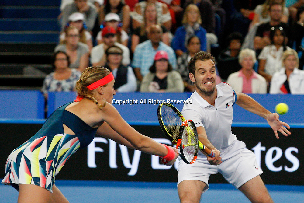 07.01.2017. Perth Arena, Perth, Australia. Mastercard Hopman Cup International Tennis tournament. Richard Gasquet (FRA) and Kristina Mladenovic (FRA) prepare to hit the same ball during the live Mixed Doubles Final against Sock/Vandeweghe (USA). Mladenovic/Gasquet won 4-1, 4-3.