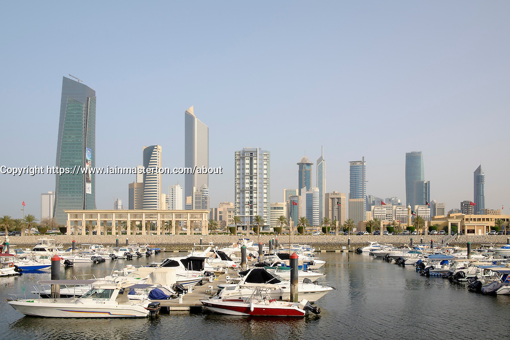 Skyline of Kuwait City from Souq Sharq marina in Kuwait