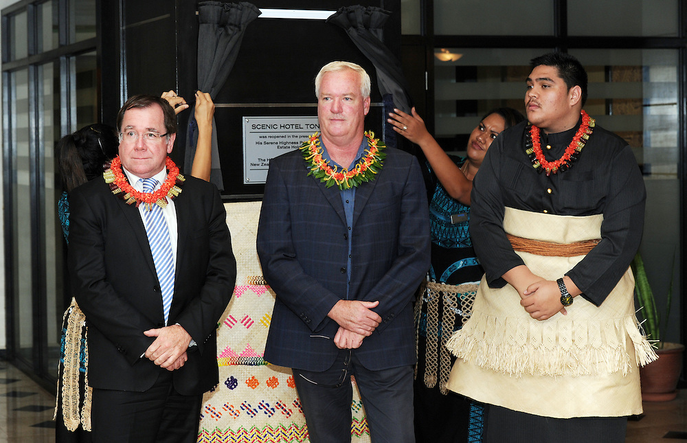 Minister of Foreign Affairs Minister, Murray McCully, left, Scenic Hotels Managing Director, Brendan Taylor, and his Serene Highness Prince Tungi at the opening of the Tonga Scenic Hotel, Pacific Mission 2012, Nuku'alofa, Tonga, Tuesday, July 24, 2012. Credit:SNPA / Ross Setford