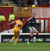 Dundee's Marcus Haber and Motherwell's Carl McHugh - Motherwell v Dundee, Fir Park, Motherwell, Photo: David Young<br /> <br />  - © David Young - www.davidyoungphoto.co.uk - email: davidyoungphoto@gmail.com