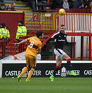 Dundee&rsquo;s Marcus Haber and Motherwell&rsquo;s Carl McHugh - Motherwell v Dundee, Fir Park, Motherwell, Photo: David Young<br /> <br />  - &copy; David Young - www.davidyoungphoto.co.uk - email: davidyoungphoto@gmail.com