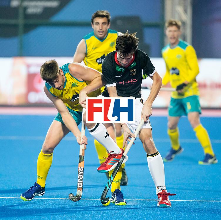 BHUBANESWAR - The Odisha Men's Hockey World League Final . Match ID 05 . Germany  v Australia .Florian Fuchs (Ger) with Eddie Ockenden (Aus) .  WORLDSPORTPICS COPYRIGHT  KOEN SUYK