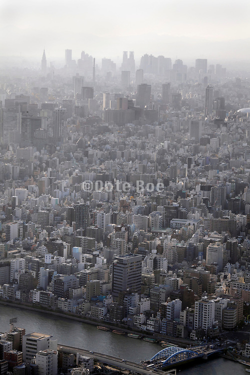 aerial view view of high-rise buildings of Tokyo's Shinjuku area