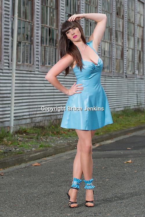 Miss E Latex Fashion garment being modeled