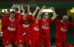 CARDIFF, WALES - Sunday, March 2, 2003: Liverpool's Danny Murphy and Steven Gerrard (l) lead the celebrations after his side's 2-0 victory over Manchester United during the Football League Cup Final at the Millennium Stadium. (Pic by David Rawcliffe/Propaganda)