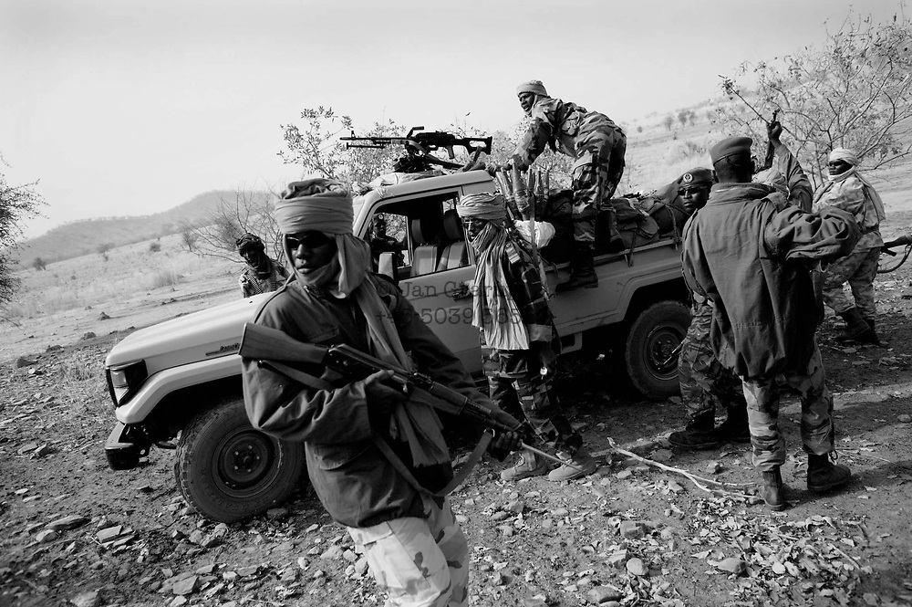 Abeche.<br /> <br /> Chad army on a patrol in the outskirts of Goz Beida in Eastern Chad.