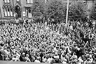 Jack Taylor &amp; Sam Thompson address miners outside Yorks Area NUM Office in Barnsley 19th March 1984 during the 1984-85 miners strike...&copy; Martin Jenkinson<br />