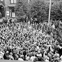 Jack Taylor & Sam Thompson address miners outside Yorks Area NUM Office in Barnsley 19th March 1984 during the 1984-85 miners strike...© Martin Jenkinson<br />