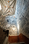 Black & white painted stairway murals in the San Nicolas Tolentino Temple and Ex-Monastery in Actopan, Hidalgo, Mexico. The colonial church and convent  was built in 1546 and combine architectural elements from the romantic, gothic and renaissance periods.
