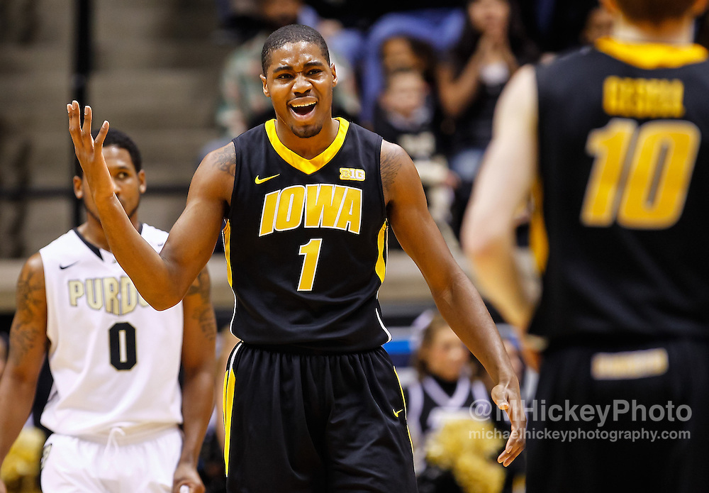 WEST LAFAYETTE, IN - JANUARY 27: Melsahn Basabe #1 of the Iowa Hawkeyes reacts after a play during the game against the Purdue Boilermakers at Mackey Arena on January 27, 2013 in West Lafayette, Indiana. Purdue defeated Iowa 65-62 in overtime. (Photo by Michael Hickey/Getty Images) *** Local Caption *** Melsahn Basabe