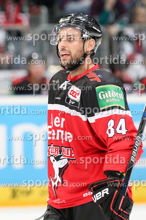 11.09.2015, Lanxess Arena, Koeln, GER, DEL, Koelner Haie vs EHC Red Bull Muenchen, 1. Runde, im Bild Dragan Umicevic (Koelner Haie) // during the German DEL Icehockey League 1st round match between Koelner Haie and EHC Red Bull Munich at the Lanxess Arena in Koeln, Germany on 2015/09/11. EXPA Pictures &copy; 2015, PhotoCredit: EXPA/ Eibner-Pressefoto/ Fusswinkel<br /> <br /> *****ATTENTION - OUT of GER*****