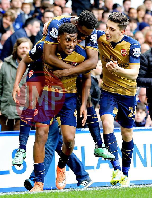 Arsenal's Alex Iwobi celebrates after scoring his sides second goal  - Mandatory byline: Matt McNulty/JMP - 19/03/2016 - FOOTBALL - Goodison Park - Liverpool, England - Everton v Arsenal - Barclays Premier League