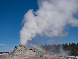 United States, Wyoming, Uppper Geyser Basin, Castle Geyser and rainbow