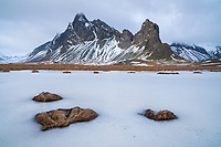 Hvalnes and Mount Eystrahorn in winter. East Iceland.
