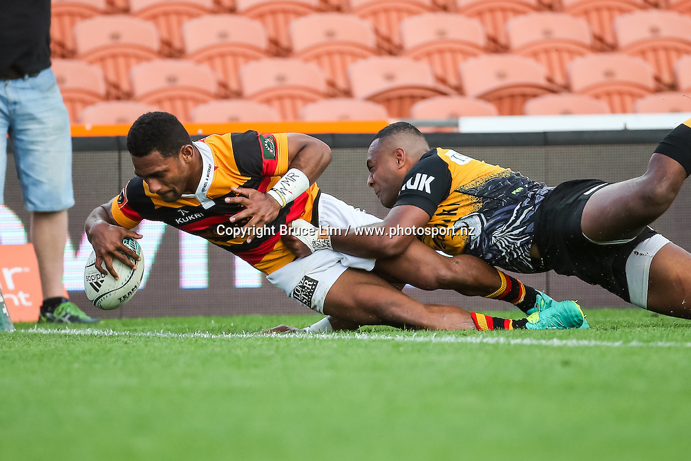 Waikato winger Sevu Reece scores a try during round 5 of the Mitre 10 Cup rugby union national provincial championship - Waikato v Taranaki played at FMG Stadium Waikato, Hamilton, New Zealand on Sunday 18 September 2016. <br /> <br /> Copyright Photo: Bruce Lim / www.photosport.nz