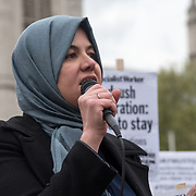 Ragad Osama of Muslim Association of Britain addresses supporter Justice For Windrush - Scrap May's Racist Act Hosted by Stand Up To Racism during the debate in the Parliament on 30 April 2018 at Parliament Square, London, UK.