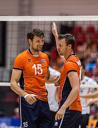 05-06-2016 NED: Nederland - Duitsland, Doetinchem<br /> Nederland speelt de laatste oefenwedstrijd ook in  Doetinchem en speelt gelijk 2-2 in een redelijk duel van beide kanten / Jeroen Rauwerdink #10, Thomas Koelewijn #15