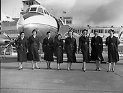 """06/03/1958<br /> 03/06/1958<br /> 06 March 1958<br /> Aer Lingus Air Hostess's at Dublin Airport. The aircraft is KLM Viscount c/n 177, PH-VIF """"Leonardo da Vinci'. The plane finished its career with Aer Lingus."""