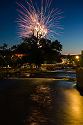 4th of July fireworks during Artown in WIngfield Park along the Truckee river in Reno, NV.