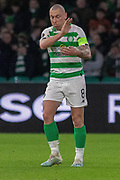 Celtic Captain frustrated at his teams near miss during the Europa League match between Celtic and Rennes at Celtic Park, Glasgow, Scotland on 28 November 2019.