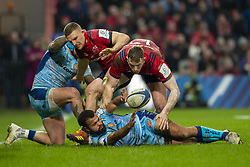 January 19, 2019 - Limerick, Ireland - Tom O'Flathery of Exeter with Chris Farrell and Andrew Conway of Munster during the Heineken Champions Cup match between Munster Rugby and Exeter Chiefs at Thomond Park in Limerick, Ireland on January 19, 2019  (Credit Image: © Andrew Surma/NurPhoto via ZUMA Press)