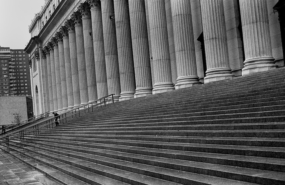 "Steps of the Post Office in Midtown Manhattan near 34th St...Part of long-term (2005-2008) story ""I See A Darkness"". New York, NY."