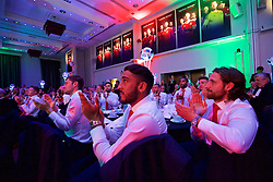 CARDIFF, WALES - Wednesday, June 1, 2016: Wales' Ben Davies, Neil Taylor and Joe Allen during a charity send-off gala dinner at the Vale Resort Hotel ahead of the UEFA Euro 2016. (Pic by David Rawcliffe/Propaganda)