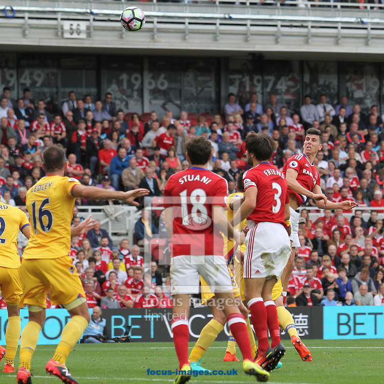Daniel Sanchez Ayala of Middlesbrough  makes it 1-1 with a header during the Premier League match at the Riverside Stadium, Middlesbrough<br /> Picture by Robert Smith/Focus Images Ltd 07837 882029<br /> 10/09/2016
