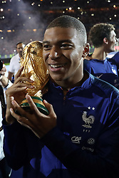 September 9, 2018 - Paris, France - Kylian Mbappe of France celebrates with the World Cup Trophy after the UEFA Nations League A group official match between France and Netherlands at Stade de France on September 9, 2018 in Paris, France. This is the first match of the French football team at the Stade de France since their victory in the final of the World Cup in Russia. (Credit Image: © Mehdi Taamallah/NurPhoto/ZUMA Press)