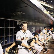 Matt Duffy, (center), San Francisco Giants, preparing to bat during the New York Mets Vs San Francisco Giants MLB regular season baseball game at Citi Field, Queens, New York. USA. 11th June 2015. Photo Tim Clayton