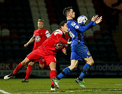 Rochdale's Ian Henderson controls the ball under pressure from Mathieu Baudry of Leyton Orient  - Photo mandatory by-line: Matt McNulty/JMP - Mobile: 07966 386802 - 21/04/2015 - SPORT - Football - Rochdale - Spotland Stadium - Rochdale v Leyton Orient - Sky Bet League One
