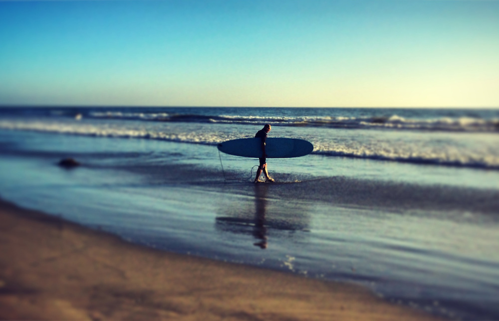 Surfer carrying board out to the ocean in Del Mar, CA
