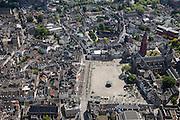 Nederland, Limburg, Gemeente Maastricht, 27-05-2013; <br /> Vrijthof met terrassen en muziektent in het historische centrum vam Maastricht, rode toren van de Sint Janskerk staat naast de Sint Servaasbasiliek.<br /> Vrijthof with terraces and bandstand in the historic center of Maastricht, red tower of St Jan's Church is next to the Basilica of St. Servaas.<br /> luchtfoto (toeslag op standaardtarieven);<br /> aerial photo (additional fee required);<br /> copyright foto/photo Siebe Swart.