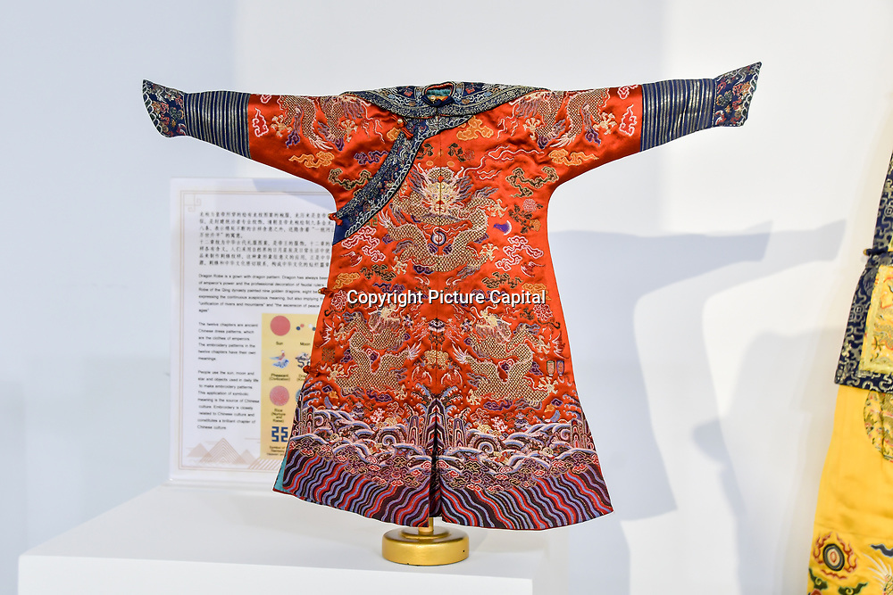 Mini Imperial Robe by Gu Wenxia Studio exhibition at Amazing China: A Multidisciplinary Exhibition of Chinese Arts and Crafts host by National base of International Cultural Trade (Shanghai) on 10 May 2019, at The Hospital Club 24 Endell Street, London, UK.
