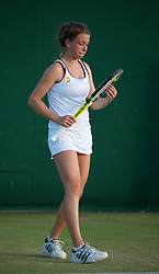 LONDON, ENGLAND - Saturday, June 25, 2011: Pippa Horn (GBR) in action during the  Girls' Singles 1st Round match on day six of the Wimbledon Lawn Tennis Championships at the All England Lawn Tennis and Croquet Club. (Pic by David Rawcliffe/Propaganda)