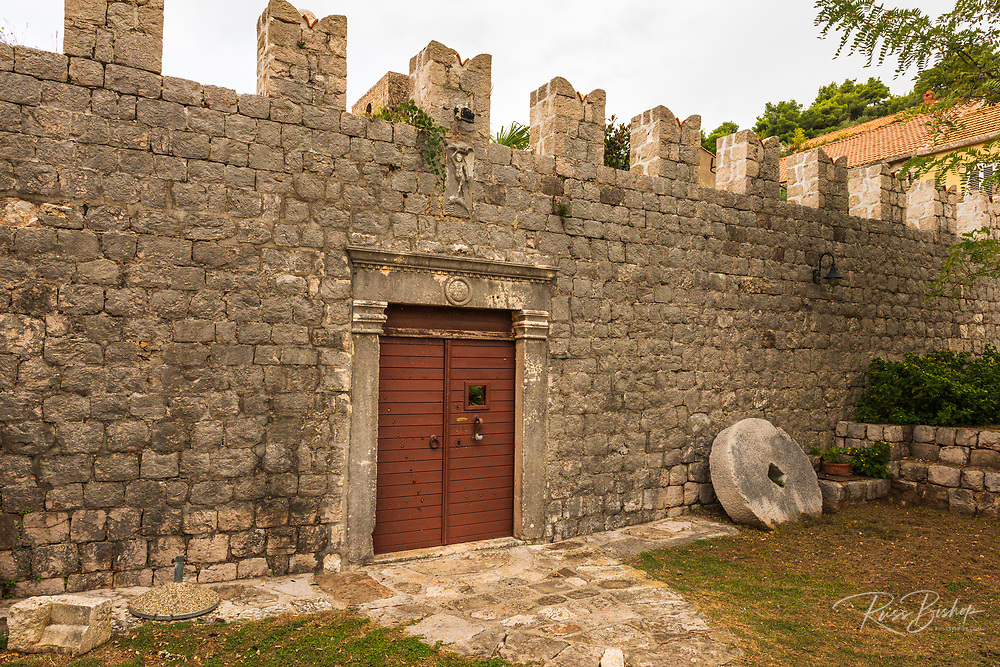 The entrance to Skocibuha Castle, Sudurad, Sipan Island, Dalmatian Coast, Croatia
