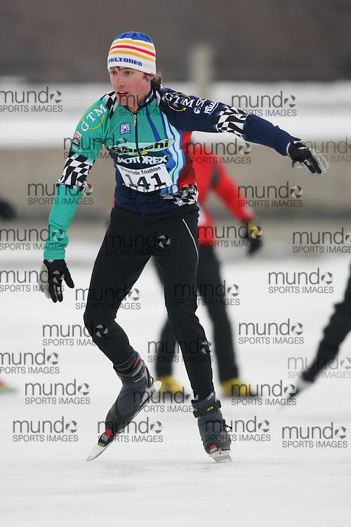 Ottawa, Canada ---07/02/09---BRENDAN MATHESON of HILLSDALE finished in 16 overall  2009 WinterludeTriathlon. It is a speed skate, cross country ski, run version of the triathlon. Photo copyright Sean Burges/Mundo Sport Images, 2009.