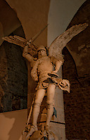 Statue of Archangel Michael with sword in the Abbey at Mont-Saint-Michel, France
