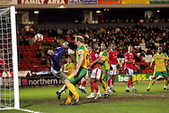 London - Saturday, January 12th, 2008: Heinz Muller of Barnsley dives in vain as  Dion Dublin of Norwich City (far left) watches his header go in to score Norwich's 3rd goal during the Coca Cola Champrionship match at Oakwell, Barnsley. (Pic by Paul Hollands/Focus Images)