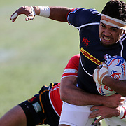 Folau Niua scored a try in the USA Eagles 31-10 victory over Spain in the second day of action at the USA Sevens, Sam Boyd Stadium, Las Vegas, Nevada.  Photo by Barry Markowitz, Courtesy STP/TriMarine, 1/25/14, 4pm