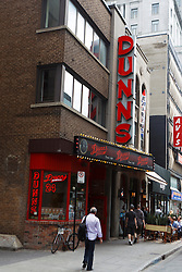 Exterior view of Dunn's Deli / Sandwich shop, specializing in smoked meat, downtown, Montreal, Quebec, Canada