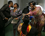 Rosalind Matthew of Rochester applies makeup to performers backstage at the Roc Awards at the Kodak Theater on Sunday, February 15, 2015.