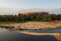 Beach at river Wisla near National football stadium in Warsaw a day before the beginning of Euro 2012 Poland-Ukraine, on June 7, 2012 in Warsaw, Poland. (Photo by Vid Ponikvar / Sportida.com)
