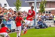 UITGEEST - 09-07-2016, AZ - FC Volendam, Complex FC Uitgeest,  AZ speler Wout Weghorst heeft zojuist de 4-0 gescoord en juicht.