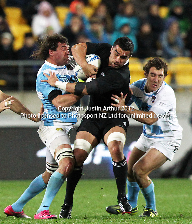 All Blacks' Liam Messam gets wrapped up in the tackle during the Rugby Championship Union test match. All Blacks v Argentina at Westpac Stadium, Wellington, New Zealand on Saturday 8 September 2012. Photo: Justin Arthur / photosport.co.nz