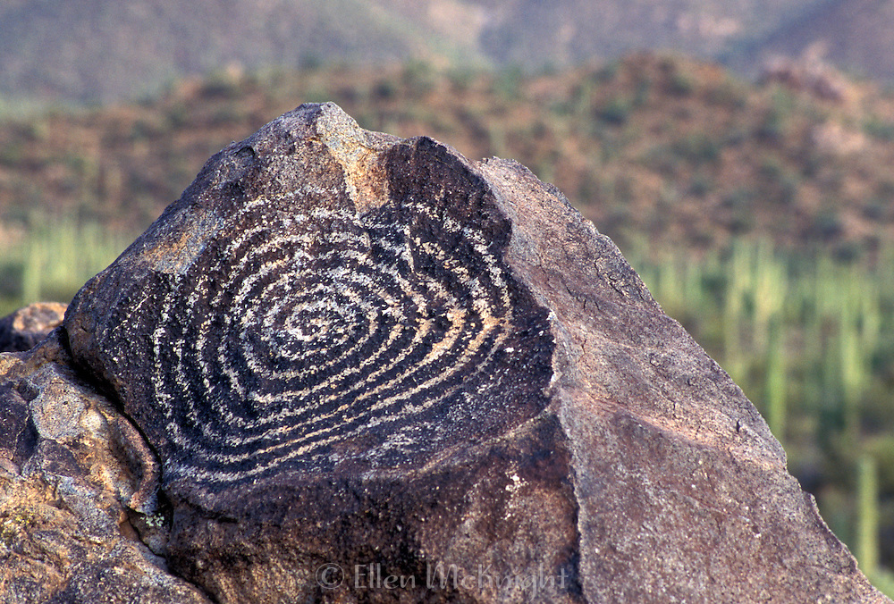 Ancient petroglyph at Signal Hill in the Sonoran Desert near Tucson, Arizona