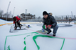 Preparing stadium Bezigrad for Winter Classic of HDD Olimpija Ice Fest 2013, on December 30, 2012 in Stadium Bezigrad, Ljubljana, Slovenia. (Photo By Matic Klansek Velej / Sportida.com)