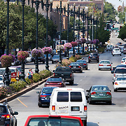 Looking west across 47th Street from Main Street, Country Club Plaza, Kansas City, Missouri. Taken for Rhythm Engineering,