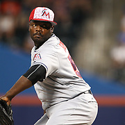 NEW YORK, NEW YORK - July 05: Pitcher Fernando Rodney #56 of the Miami Marlins pitching during the Miami Marlins Vs New York Mets regular season MLB game at Citi Field on July 04, 2016 in New York City. (Photo by Tim Clayton/Corbis via Getty Images)