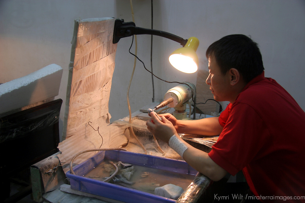 Asia, China, Shaanxi, Xian. A craftsman carves jade at the Jade Factory in Xian.